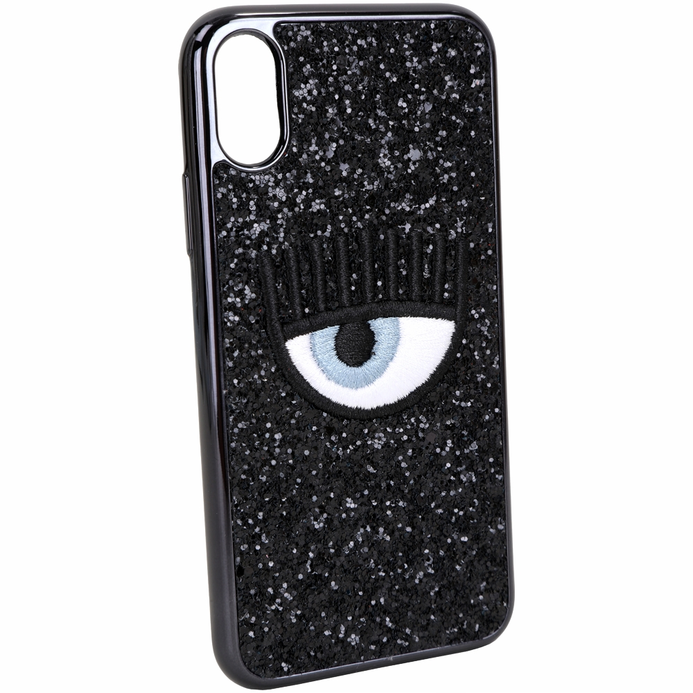 Chiara Ferragni 刺繡眼睛黑色亮片iPhone X手機殼(5.8吋)