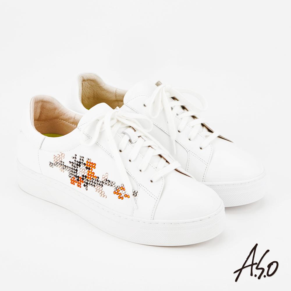 A.S.O 超彈力 全真皮水鑽綁帶休閒鞋 白