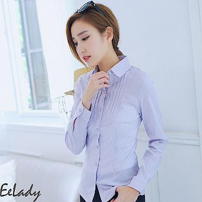 EELADY-胸襟壓皺長袖條紋襯衫