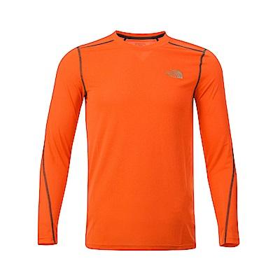 The North Face北面男款橙色吸濕排汗長袖T恤 3RGGL4B