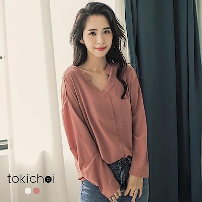 東京著衣 OL百搭乾燥玫瑰V領襯衫-S.M(共二色)