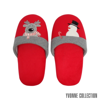 Yvonne Collection 馴鹿胖胖拖鞋-紅M