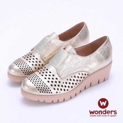 WONDERS- FLY系列 真皮鏤空輕量厚底鞋 -金色