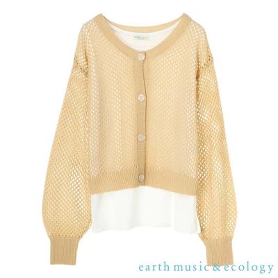 earth music  【SET ITEM】鏤空網狀鉤織短版罩衫+法式袖圓領T恤