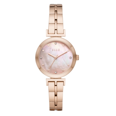 ELLE  ODEON系列晶鑽貝殼面腕錶-粉X玫瑰金(ELL21011)