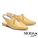 涼鞋 MODA Luxury 小清新簍空蝴蝶結設計羊皮尖頭低跟涼鞋鞋-黃
