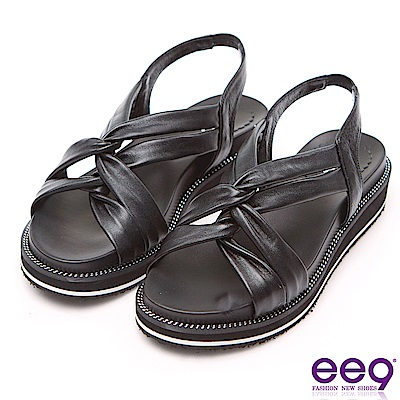 ee9 MIT經典手工微透裸肌超輕厚底涼鞋 黑色