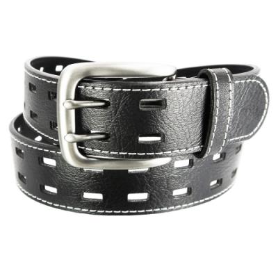 CH-BELT雙雙排洞造型車線中性牛仔皮帶腰帶(黑)