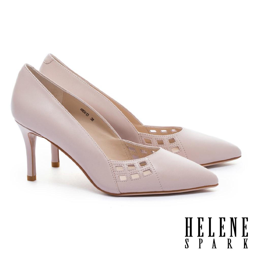 高跟鞋 HELENE SPARK 簡約之美雅緻沖孔羊皮尖頭高跟鞋-粉