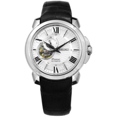 SEIKO 精工 Premier 羅馬藍寶石水晶真皮機械手錶-銀白x黑/41mm