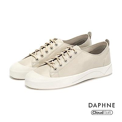達芙妮DAPHNE 休閒鞋-牛皮綁帶刻紋厚底休閒鞋-白