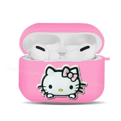 三麗鷗授權 Hello Kitty 蘋果AirPods Pro 藍牙耳機盒保護套(凱蒂粉)