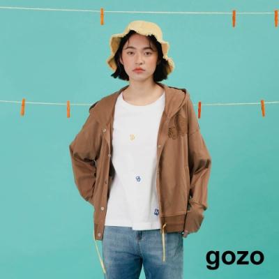 gozo-拼接襯衫鋪棉連帽外套(兩色)