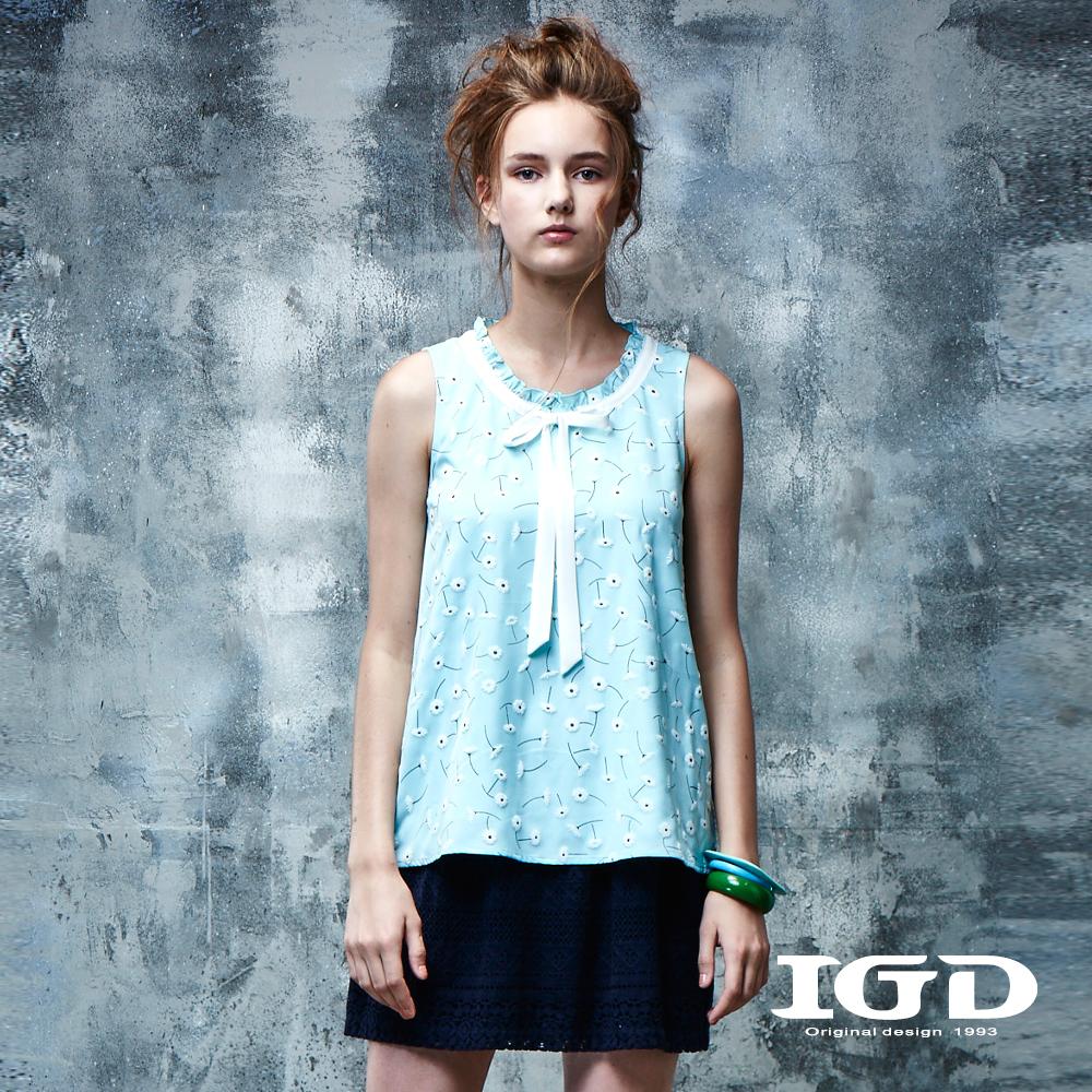 IGD英格麗 蒲公英印花細褶上衣-藍