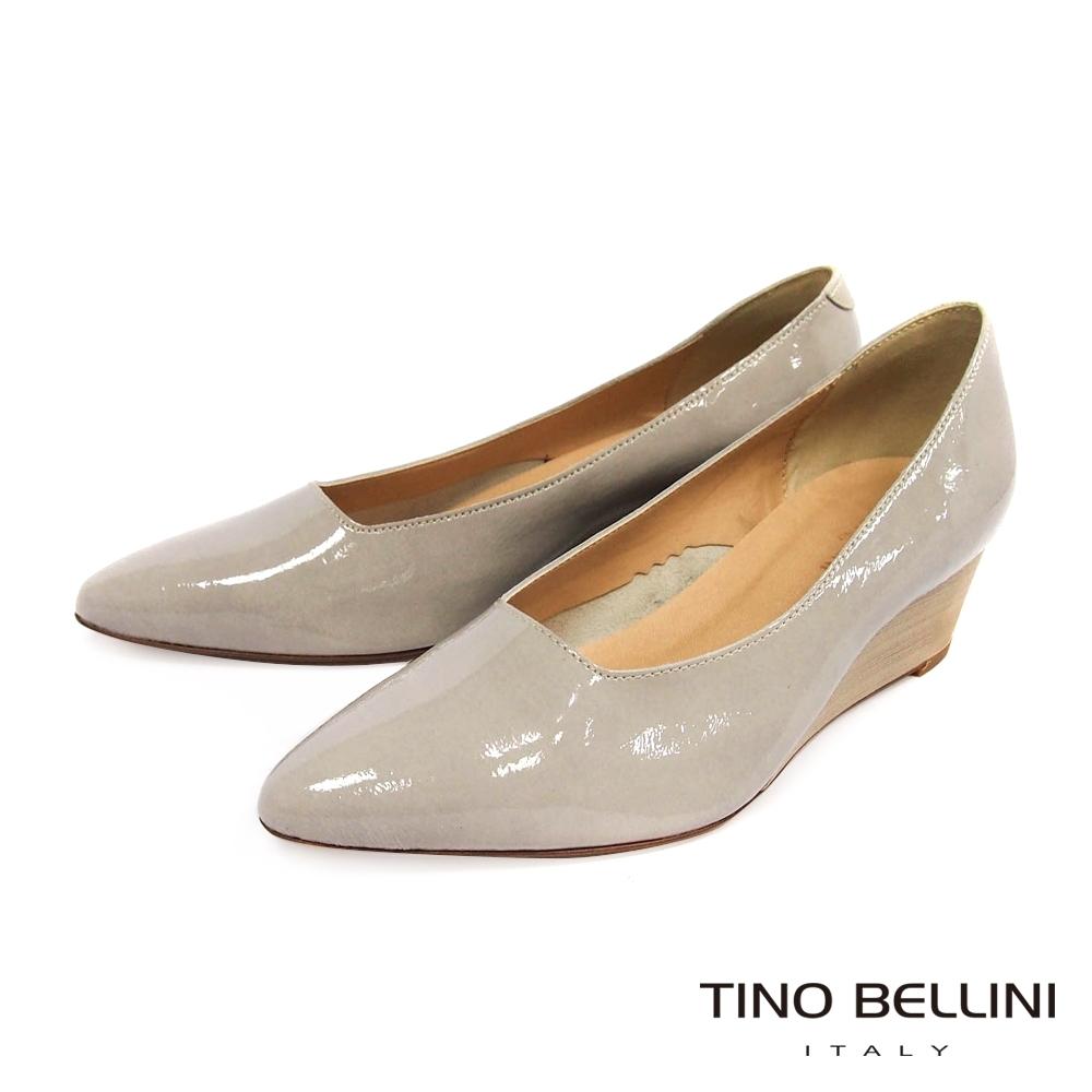 Tino Bellini義大利進口優雅端莊牛漆皮楔型鞋_淺灰