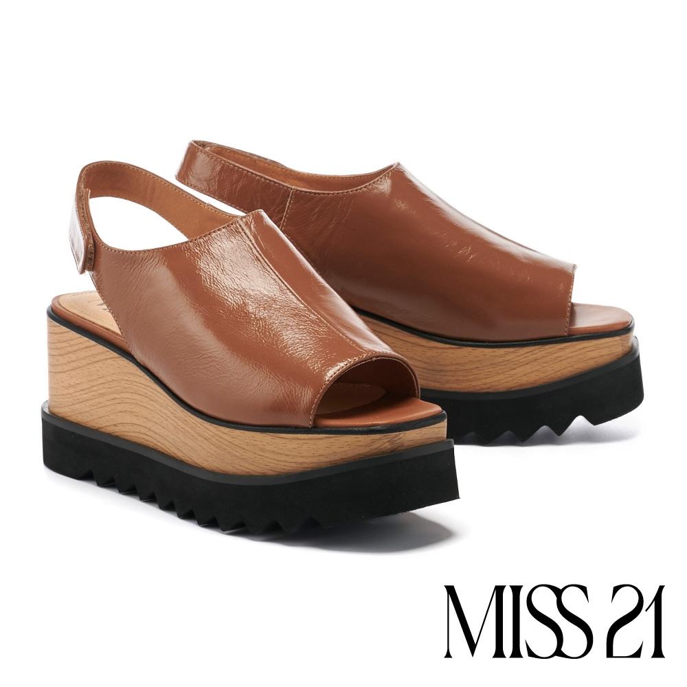 涼鞋 MISS 21  輕熟時尚牛皮後繫帶木紋美型厚底涼鞋-棕