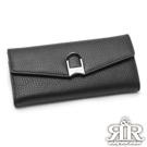 2R 頭層牛皮Sketch蹄釦造型飾蓋長夾 古典黑