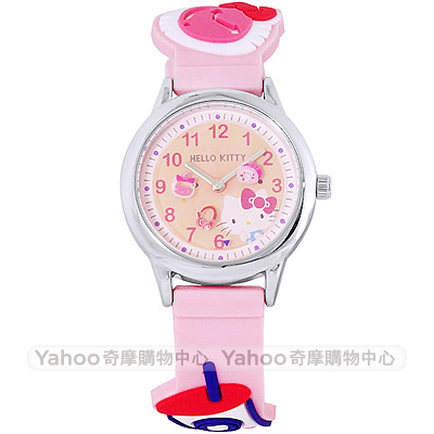 HELLO KITTY 凱蒂貓甜美可愛造型手錶-粉紅/29mm