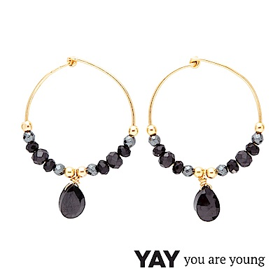 YAY You Are Young Black Swan 黑色寶石耳環 金色經典圓耳環