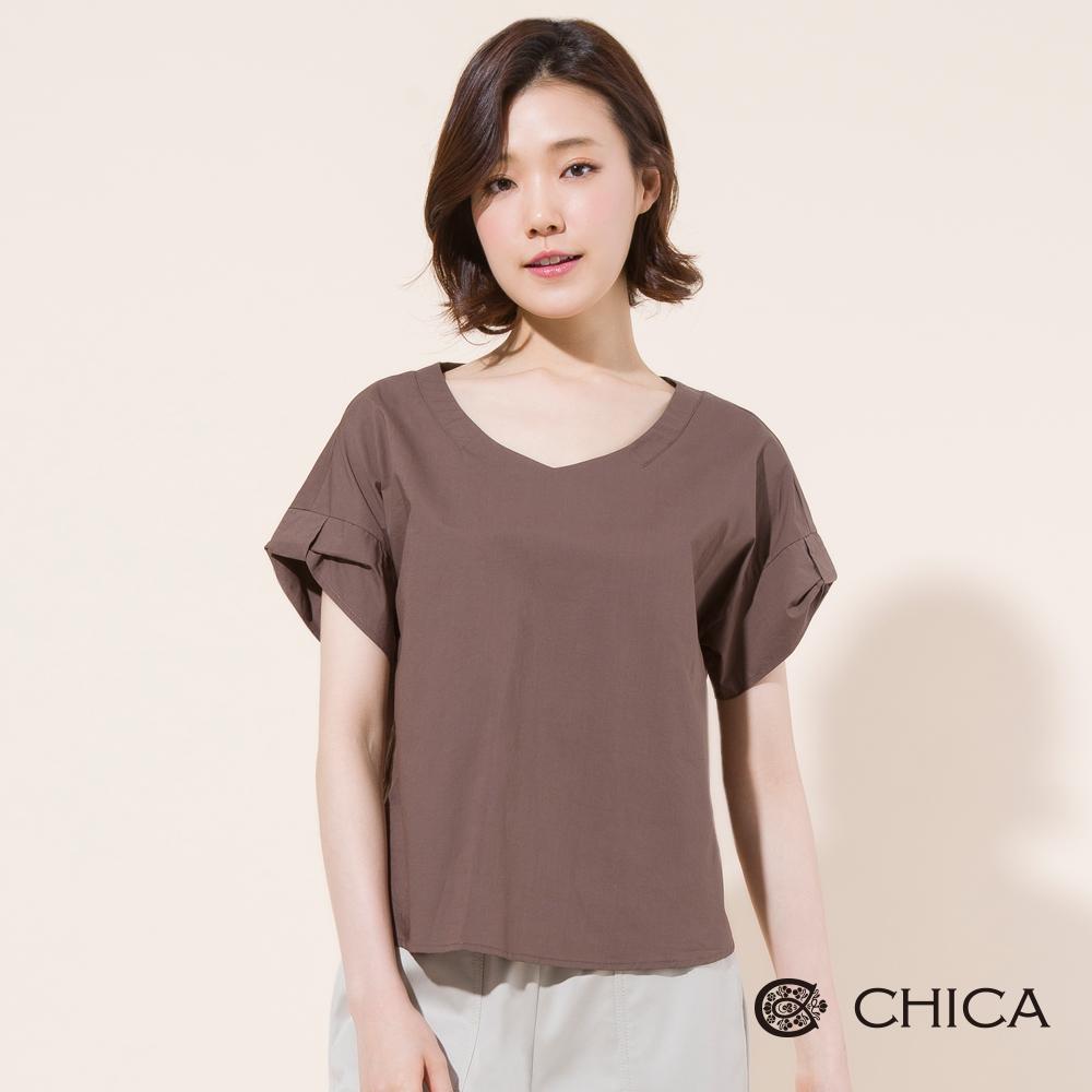 CHICA 簡單美好設計袖型純棉上衣(2色)