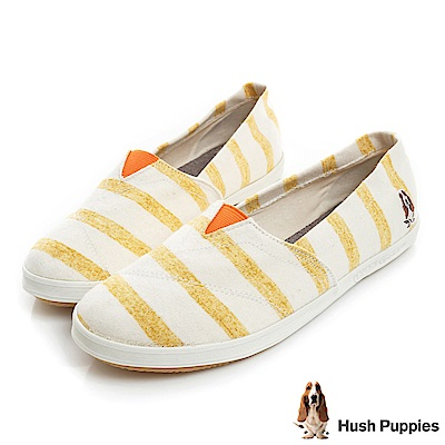 Hush Puppies 清爽條紋咖啡紗懶人鞋-黃色