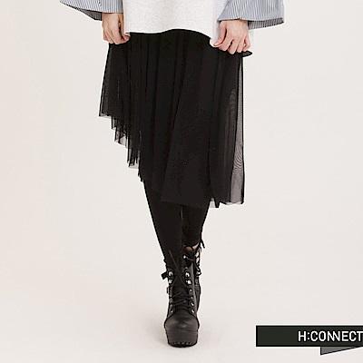 H:CONNECT 韓國品牌 女裝 - 假兩件網紗長裙-黑(快)