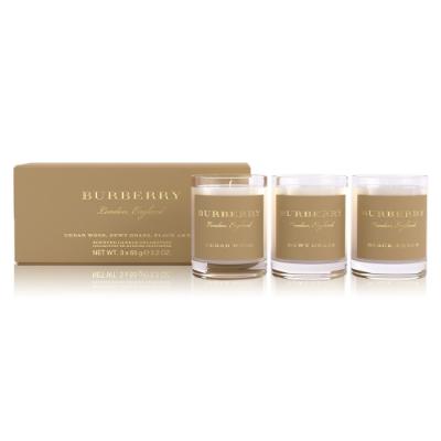 *Burberry 香氛蠟燭禮盒(濃郁雪松+朝露草地+黑琥珀) 65gx3