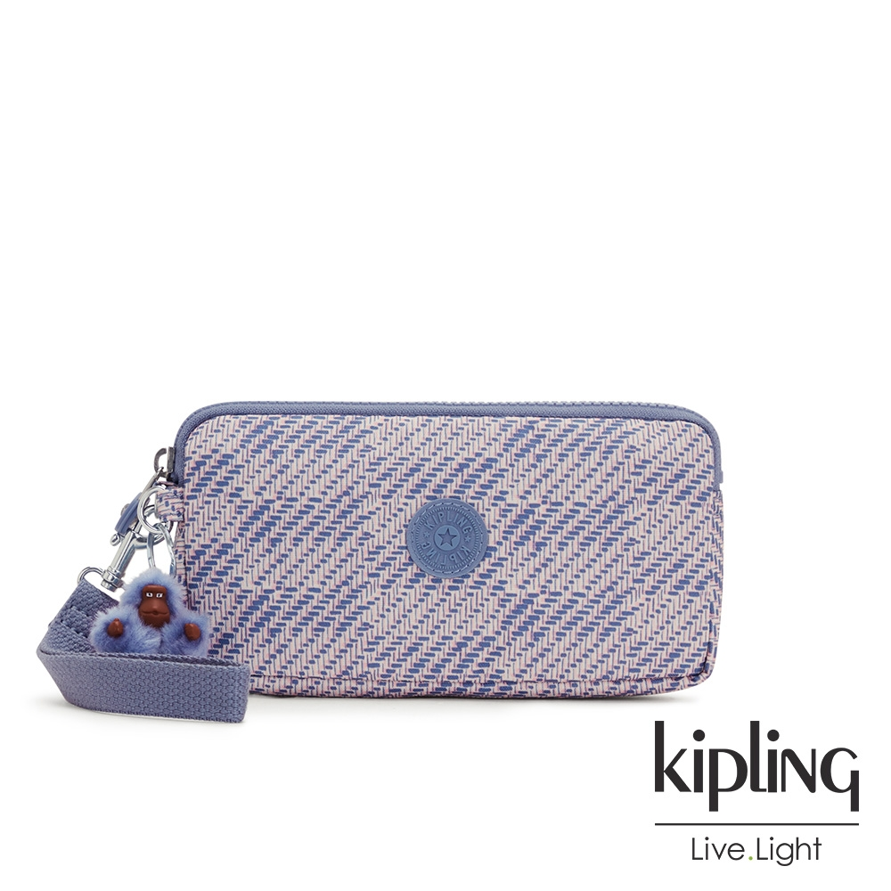 Kipling 斜紋軟呢丁香紫手拿包-LOWIE