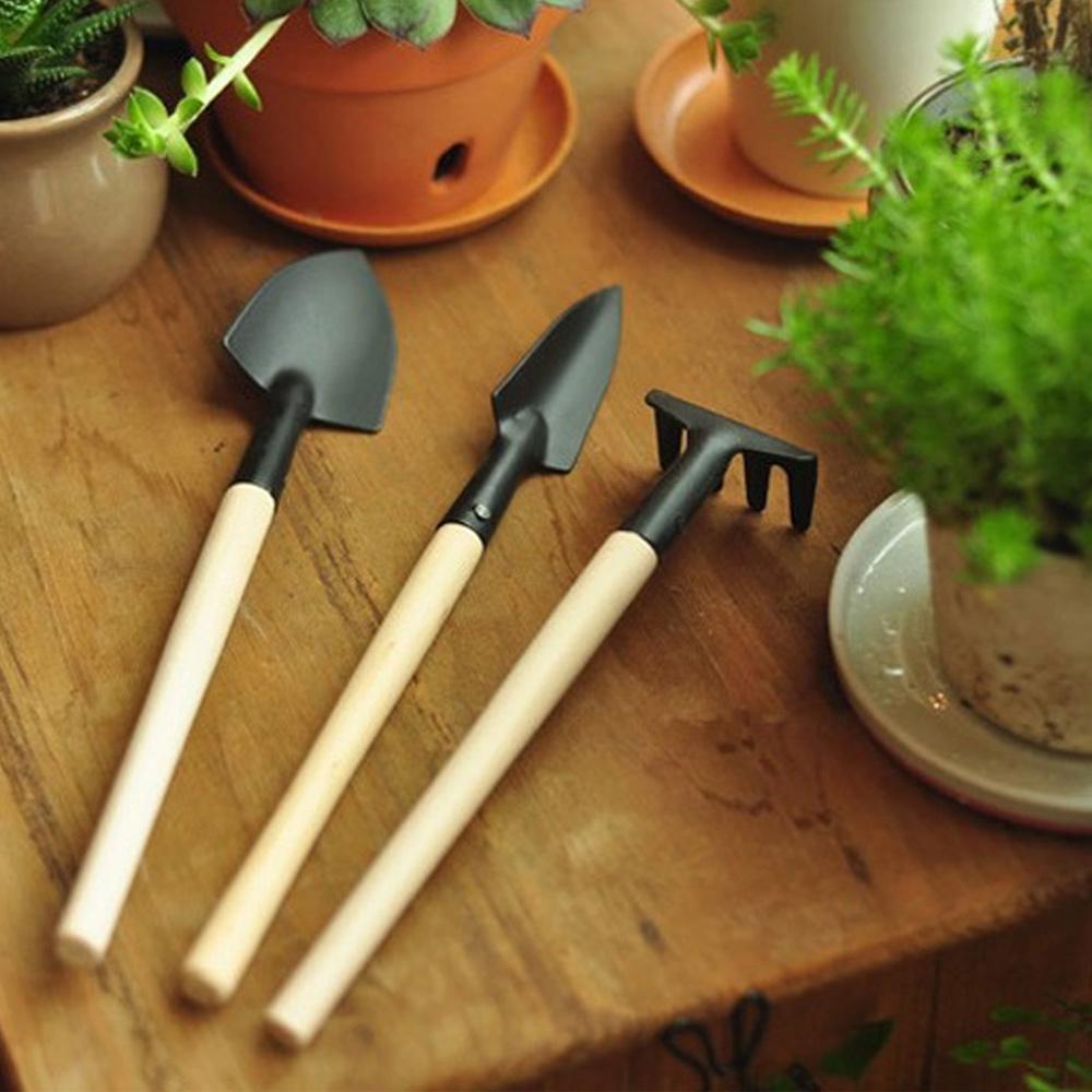 【Meric Garden】多肉植物微景觀迷你園藝工具三件組(鏟/鍬/耙)