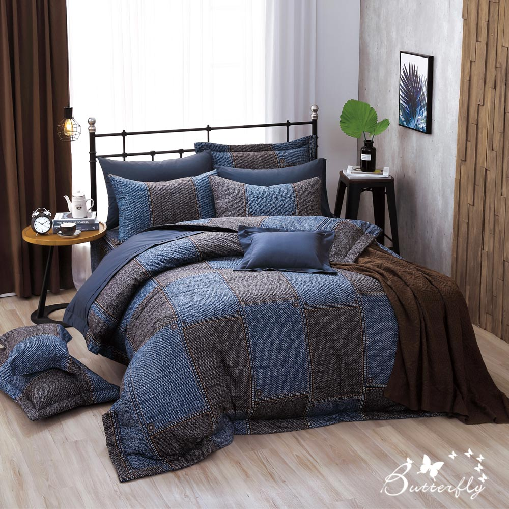 BUTTERFLY-台製40支紗純棉-雙人6x7尺鋪棉兩用被-西部牛仔
