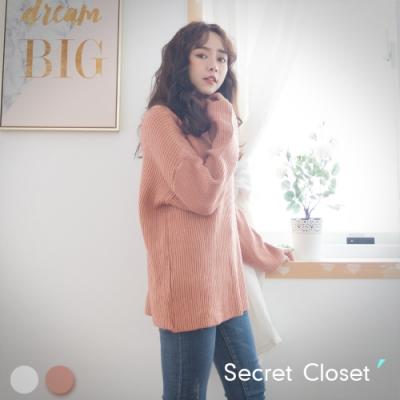 Secret Closet-復古寬鬆高領針織毛衣