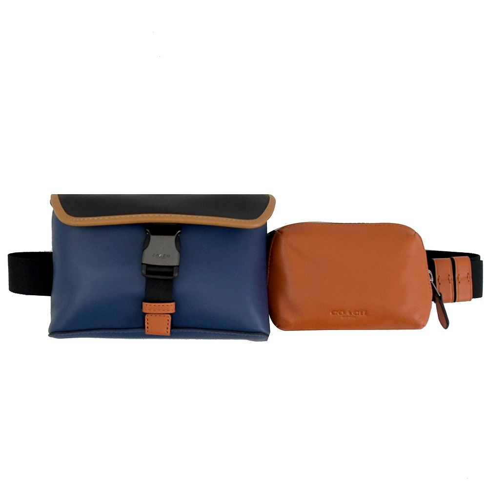 COACH 烙印LOGO拼色牛皮造型騎士雙腰包/胸口包(藍/橘)