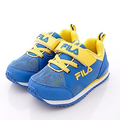FILA頂級童鞋款 針織後穩定款 EI58P-399藍黃(小童段)0