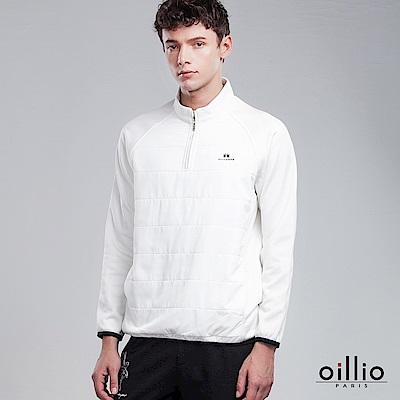 歐洲貴族 oillio 長袖立領T 大口袋款式 柔順厚棉保暖 白色