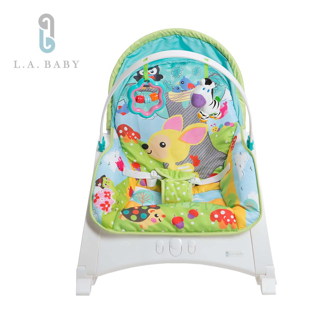 L.A. Baby   攜帶式音樂震動安撫成長搖椅(小鹿貓頭鷹)