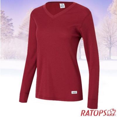 瑞多仕 女款 Thermolite V領長袖刷毛保暖內衣_DB4529 草莓紅色