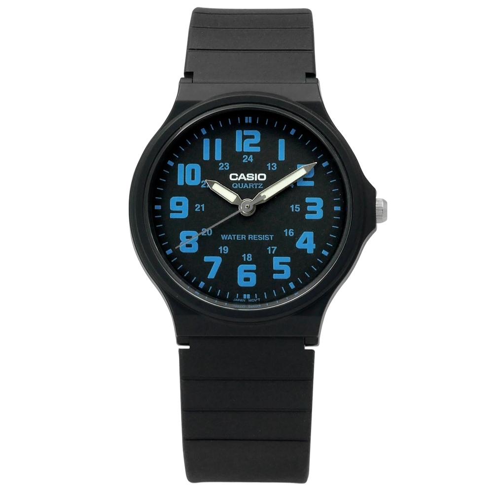 CASIO 卡西歐 休閒百搭橡膠腕錶-藍x黑/33mm