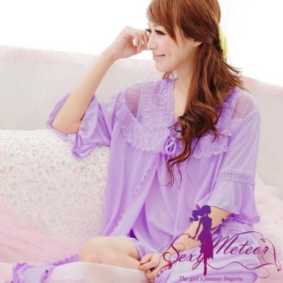 睡衣 全尺碼 蕾絲肩帶裙+睡袍二件式睡衣組(夢幻紫) Sexy Meteor
