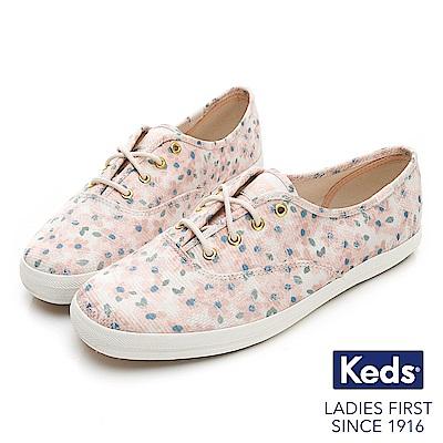 Keds CHAMPION 復古花卉綁帶休閒鞋-粉紅