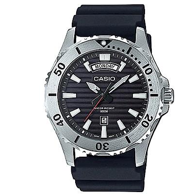 CASIO 經典再現仿黑水鬼造型設計休閒錶(MTP-1087-1A)黑 /51mm