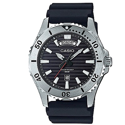 CASIO 經典再現仿黑水鬼造型設計休閒錶(共黑和藍2色可選)