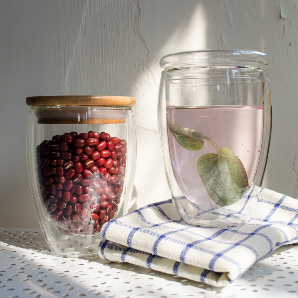 Homely Zakka 午茶食光隔熱保溫雙層双蓋玻璃杯350ml