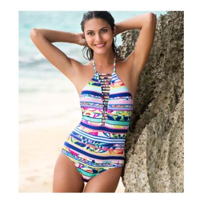 澳洲Sunseeker泳裝Tropical Rainbow系列削肩復古連身三角泳衣1180098COB