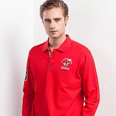 歐洲貴族oillio長袖POLO精緻電繡素面上衣紅色
