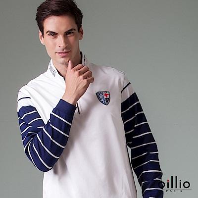 歐洲貴族 oillio 長袖T恤 雙袖條紋 立領刺鏽 白色
