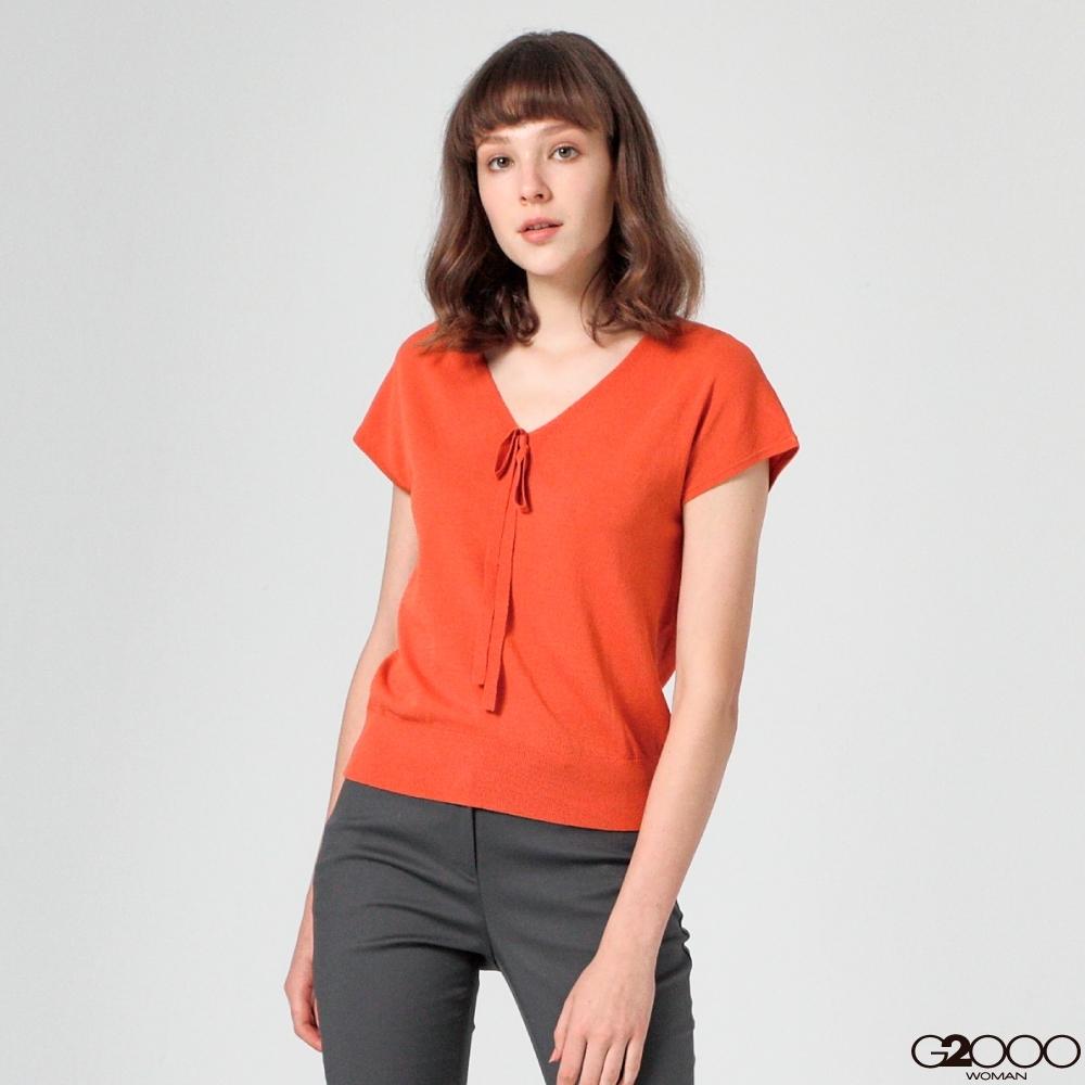 G2000素面短袖針織衫-橘色