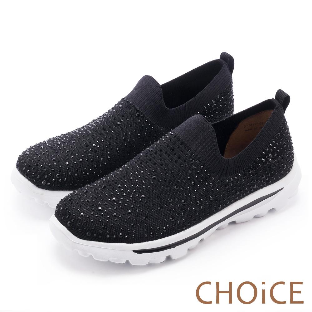 CHOiCE 舒適渡假休閒 燙鑽針織布面休閒包鞋-黑色