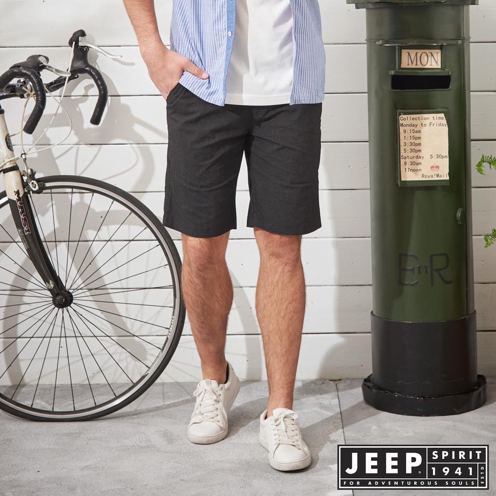JEEP 時尚型男素面休閒短褲-黑色