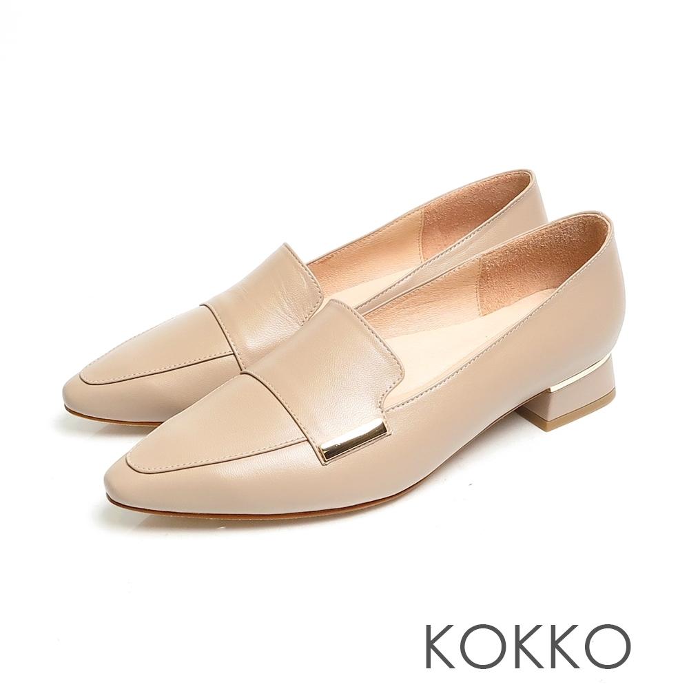 KOKKO素面方頭舒壓真皮方塊粗跟鞋粉灰色