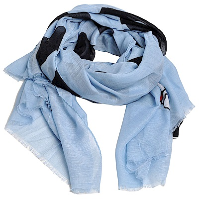 MOSCHINO 俏麗貝蒂LOGO義大利製螺縈混棉披肩/圍巾(淺藍)